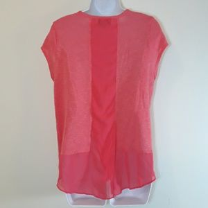 By & By Coral / Salmon Knit Top w Sheer Back.